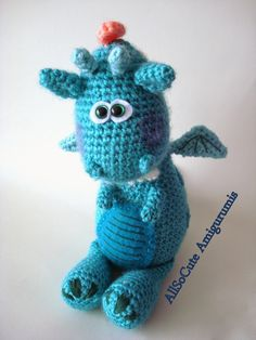 """Here is my latest amigurumi dragon pattern, Finished Dragon is approx 10""""tall (26cm) sitting. This may vary depending on the yar..."""