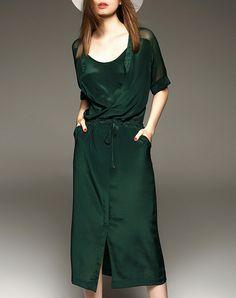 #AdoreWe #VIPme Shift Dresses - Elenyun Summer Green Silk Pockets Midi Dress with Split - AdoreWe.com