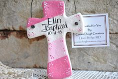 Colorful hand painted Colorblock Salt Dough Cross Ornament available for boy or girl, see options. Cute!! And popular, modern diagonal color block crosses are hand painted in blues or pinks, paint spl