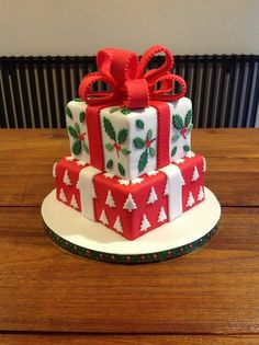 """Christmas present cake   """"My first christmas cake, based on an idea by Zoe Clarke"""" ~ Honor, North Walsham Norfolk, http://www.CakeDecoratingHonorplate.com"""
