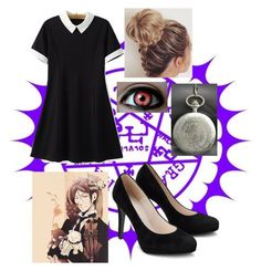 """""""One hell of a waitress//Black Butler"""" by alisha-dovey on Polyvore featuring Ciel, Chicsense and Sebastian Professional"""