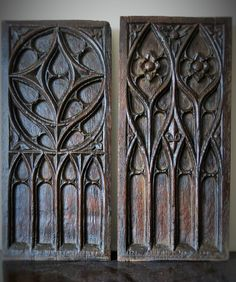 Century French Gothic Tracery Panels with traces of original paint Medieval Furniture, Gothic Furniture, Gothic Mansion, Gothic House, Medieval Gothic, Victorian Gothic, Gothic Architecture, Historical Architecture, Gothic Windows