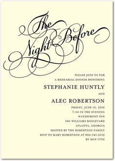 The night before the big day, invite close friends and family to celebrate! Shop custom rehearsal dinner invitations today.