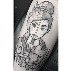 Style-----Mulan tattoo by Poppy Segger. #PoppySegger #disney #pointillism #dotwork #poppysmallhands #disneyprincess #mulan