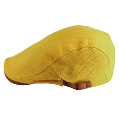 d30256b626d Morehats Cotton Linen Flat Cap Cabbie Hat Gatsby Irish Hunting Newsboy  Beret - Yellow at Amazon Men s Clothing store