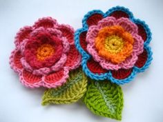 Crochet Flower and Leaves - Tutorial