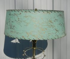 Vintage Retro modern, mid century aqua floor lamp with fiberglass shade