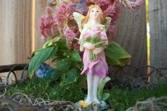 Miniature Fairy Garden Glitter Sparkle Fairy Holding Pink Roses Blue Butterfly Fae Pixie Figurine Standing Supply Accessory Gift by fairyinthegarden1 on Etsy
