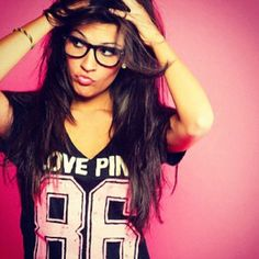 Pink - VS WANT that shirt! And the glasses kinda too! lol. And I want to grow my hair long like that again. hehe
