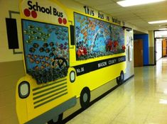 So cool for the main hallway with all classes in it! Back To School Bulletin Board Idea  (Love the schools of fish in the bus windows)