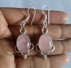 Natural Rose Quartz Gemstone Earrings Oval Shape Pink Color in Sterling Silver #HAYAATGEMS #StrandString