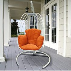 Indoor Outdoor Hanging Egg Swing Chair with Cushion and C Stand, Egg Shaped Hanging Swing Chair, Egg-Shaped Hammock Swing Chair Single Seat (Orange) Macrame Hanging Chair, Hanging Hammock Chair, Swinging Chair, Indoor Hammock, Hanging Chairs, Rope Hammock, Wicker Porch Swing, Egg Swing Chair, Swing Chairs