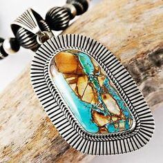Navajo Albert Jake Royston Ribbon Turquoise Squash Blossom Necklace Pendant | eBay