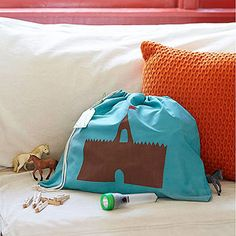 Fort-in-a-Bag Here's a gift for a young cousin or friend who loves adventure. Fill it with everything needed to make a tent fort: a flat sheet, clothesline, clothespins, and a flashlight. Template included!