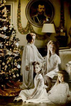The Romanovs. Daughters of the Russian Emperor Nicholas II – Olga, Tatiana, Maria, Anastasia. Digital art, collage.
