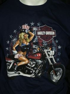 HOT Harley Davidson American Pin Up Men's Large navy blue t-shirt ~ montana #harleydavdison #GraphicTee