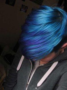 Blue Colored Long Pixie Hair