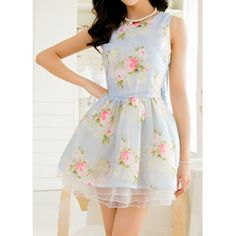 Wholesale Floral Print Materials Splicing Sleeveless Scoop Neck Wide Hem Dress For Women (BLUE,S), Dresses 2014 - Rosewholesale.com