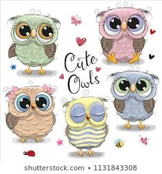 Set of cartoon owls on a white background. Set of cute cartoon owls on a white background royalty free illustration Cartoon Owl Drawing, Cute Owl Cartoon, Cute Owl Drawing, Baby Shower Greetings, Baby Shower Greeting Cards, Disney Cartoon Characters, Fictional Characters, Paper Owls, Owl Pictures