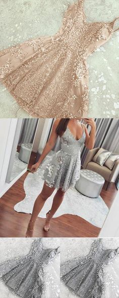 Silver Mini Spaghetti Straps Backless V-neck Lace Homecoming Dress,Short Prom Gown,N455 #shortdress #mini #dresses #v-neck #lace #homecoming #women #girl
