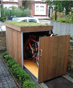 sliding bike cabinet with green roof : bike cave tidy tent - memphite.com