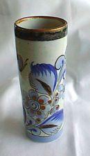 Vintage Tall Vase Bird & Butterfly Mexico Pottery Tonala Blue Ken Edwards