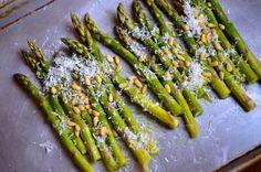 Parmigiano-Reggiano Roasted Asparagus with Pine Nuts ~ strandedfoodie.com