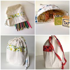 Handmade Upcycled Drawstring Pouches by MakerMama, $20.00