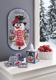 let it snow plastic canvas ensemble - Christmas Tree Decorating Ensemble Kits