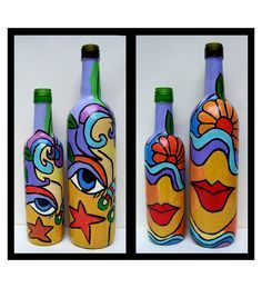 Abstract Face And Flower Vase Combo by Bottles Not Empty Online - Vases - Home Decor - Pepperfry Product Glass Bottle Crafts, Wine Bottle Art, Painted Wine Bottles, Diy Bottle, Glass Bottles, Decorated Bottles, Portraits Cubistes, Altered Bottles, Art N Craft