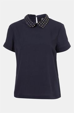 Topshop Studded Collar Blouse available at #Nordstrom