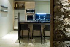 The Loft Bauhaus Stone Walls Modern Kitchen Color Schemes - Image Color Picker Bauhaus, Kitchen Colour Schemes, Color Schemes, Home Design, Casa Farnsworth, Modern Pendant Light, Hanging Lights, Kitchen Storage, Small Spaces