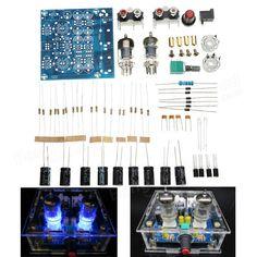 [US$10.29] 6J1 Pre-amp Tube Preamplifier Amplifier Stereo AC12V DIY Kit #preamp #tube #preamplifier #amplifier #stereo #ac12v