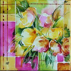Petit format 02 - Painting, 20.00x20.00 cm ©2012 by Véronique Piaser-Moyen - aquarelle, fleurs, fleur, bouquet, bouquets, toile, châssis, peinture, art contemporain, art, contemporaine, pigments, piaser-moyen, piaser, mo