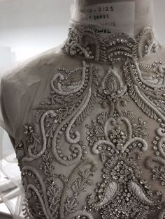My favorite neckline - Bead & crystal embellished dress detail, couture embroidery, sewing inspiration // Catherine Deane Tambour Beading, Tambour Embroidery, Couture Embroidery, Embroidery Designs, Couture Embellishment, Couture Beading, Crystal Embroidery, Embroidery Fashion, Embroidery Dress