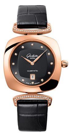 Часы Glashutte Original 1-03-01-28-05-02 Lady Serenade Pavonina - черные, золотые - швейцарские женские наручные часы