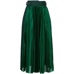 Sacai micro pleated midi skirt ($1,500) ❤ liked on Polyvore featuring skirts, green, high waisted pleated skirt, high waisted flare skirt, high-waisted midi skirts, midi flare skirt and knee length flared skirts