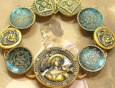 1800s vintage button gold bracelet. by AlliesAdornments on Flickr.