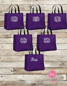 6 bridesmaid tote bags , bridesmaid gifts , tote bag , beach bag , bachelorette party gift ,wedding bag , maid of honor , flowergirl