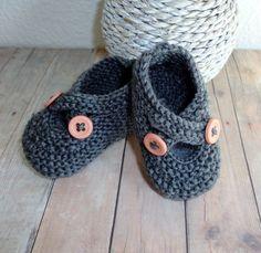 Baby Booties Tivoli Grey Newborn Baby Shoes Newborn by KnitsDuNord, $20.00