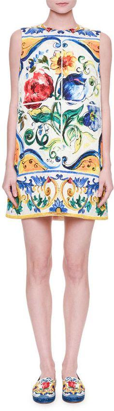 52e01a5b37d5f Dolce   Gabbana Sleeveless Maiolica Floral-Print Shift Dress