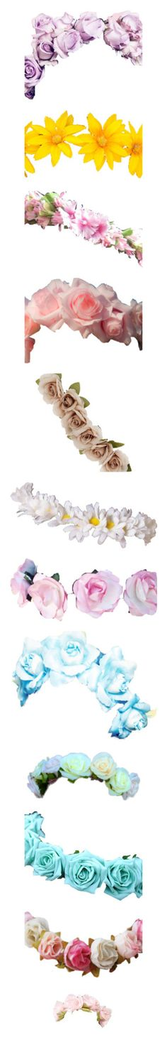 """❀ - flower crowns - ❀"" by missjohanna02 ❤ liked on Polyvore featuring accessories, hair accessories, flower crowns, flowers, floral crown, floral garland, flower hair accessories, flower garland, flower crown and crown hair accessories"