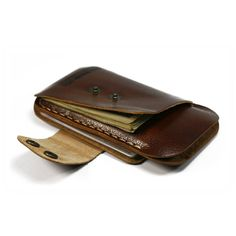 iPhone Wallet leather 4S card and cash iPhone Leather sleeve hand stitched in burgundy brown leather - 10% OFF. $36.99, via Etsy.
