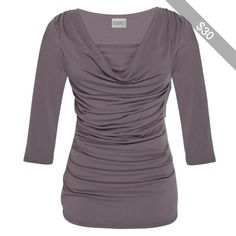 Kaliko Ruched ¾ Sleeve Cowl Neck Top, Taupe, 14