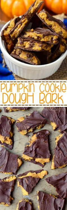 This Pumpkin Cookie Dough Bark is the love child of pumpkin desserts and your love of cookie dough! Winning!: