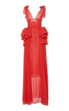 Rendered in silk, this **Rosie Assoulin** dress features a v-neckline, a fitted bodice, and a full skirt.