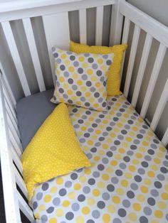 Yellow Sunshine  3 piece Baby Cot Set  by LittleBirdieTextiles