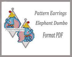 Peyote earrings Pattern Elephant Dumbo for bead weaving, beading Tutorial earrings Elephant Dumbo of weaving earrings beads Elephant Dumbo Bead Embroidery Patterns, Beading Patterns Free, Seed Bead Patterns, Peyote Patterns, Weaving Patterns, Beaded Embroidery, Knitting Patterns, Crochet Patterns, Stud Earrings