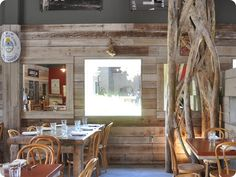 Elkins Fletcher Love Barnwood walls half way up.Here's a good picture of your idea :) Wood Panel Walls, Wooden Walls, Wood Paneling, Panelling, Barn Wood, Rustic Wood, Barnwood Ideas, Half Walls, Wood Interiors