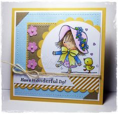 Now in my Etsy Shop: Little Girl Card Girl Spring Card Square Card by EllibellesCorner
